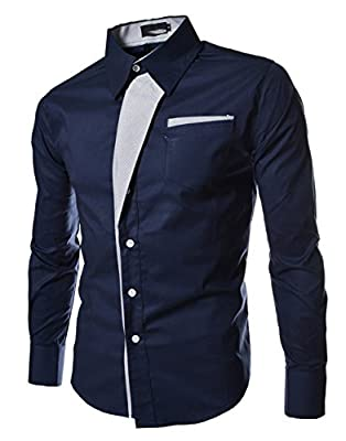 Amazon.com : Casual Men Shirts Long Sleeve Camisa Masculina Camisetas Social Roupas Blusas Slim Fit Casual-shirts for Male Clothing (XL, Blue) : Baby