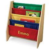 personalized bookshelf - KidKraft Personalized Primary Sling Bookshelf with Yellow Block - Emma