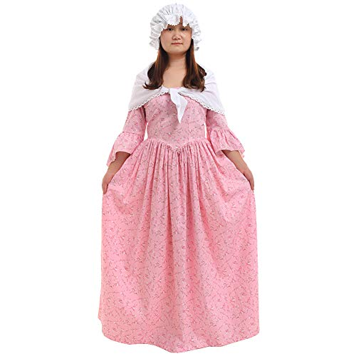 (GRACEART Pioneer Colonial Women Costume Prairie Dress Pink)