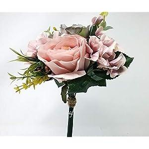 "12"" Dusty Pink Gray Rose Hydrangea Bouquet Silk Wedding Bridal Bridesmaid Flowers S1012 1"