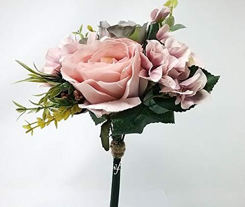 12-Dusty-Pink-Gray-Rose-Hydrangea-Bouquet-Silk-Wedding-Bridal-Bridesmaid-Flowers-S1012