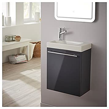 pack meuble lave mains gris anthracite laqu brillant