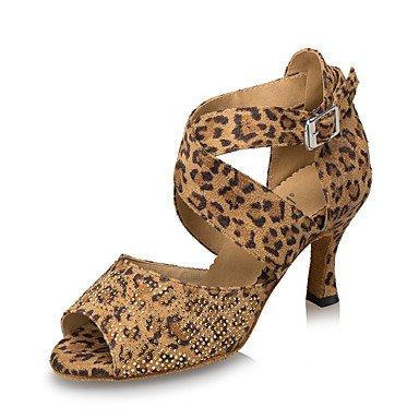 Baile Zapatillas Leopardo de Blue Negro baile Zapatos Cuadrado Personalizables Tacón Jazz Azul Moderno de Latino FIzw0fq