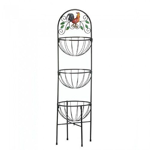 Zings & Thingz 57072971 Rooster Kitchen Baskets Stand, Brown