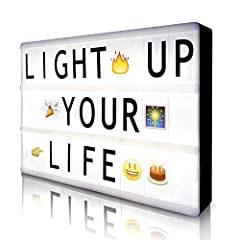 A4 LED Cinema Light Box with 160 Letters, Symbols and Emojis   Are you looking for a unique decorative piece with vintage vibes?   Then this cinema light box is exactly what you need!   The LED light up box is designed to look like those r...
