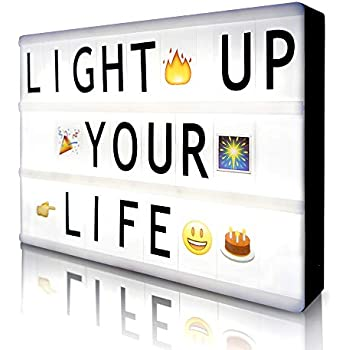 Cinematic Light Box with 85 Letters,A4 Size Free Combination Cinema Light Box DIY LED Letter Lamp for Home Decor, Photoshoots, Birthday Party (Extra 85 Emoji Signs)