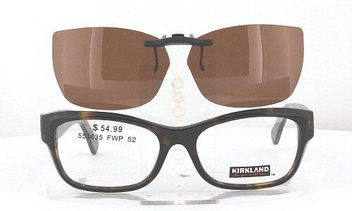 KIRKLAND-SIGNATURE SABRINA-553635-52X16 POLARIZED CLIP-ON SUNGLASSES (Frame NOT - Polarized Sunglasses Kirkland