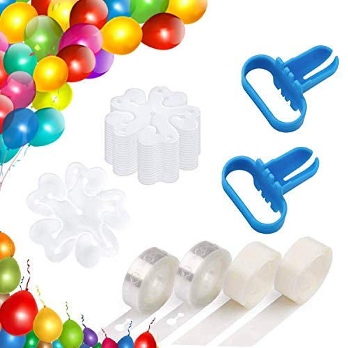 (Ouflow Balloon Decorating Strip Kit 32ft Reusable Arch Garland Streamer,2 Pcs Tying Tool,200 Dot Glue,20 Flower Clip for Wedding Birthday Xmas Party Decoration)