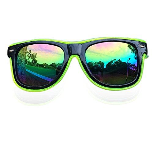 El Wire Glow Sun Glasses Led DJ Glasses Voice control led flashing glasses (Lime Green, - Sunglasses Dj