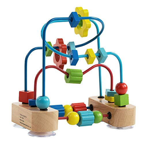 Bead Maze Toy for Toddlers, Colorful Wooden Abacus Sliding Beads Roller Coaster, Classic Educational Activity Game, Count, Color & Shape Recognition, Early Learning Toy for Ages 2 and Up ()