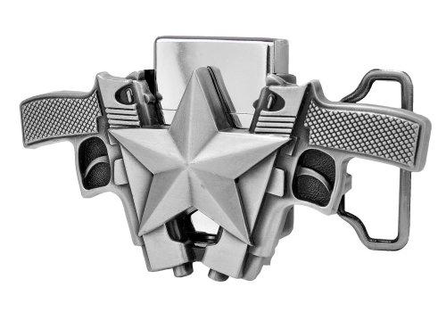 [Double Pistol Design Removable Lighter Belt Buckle] (Design Belt Buckle)