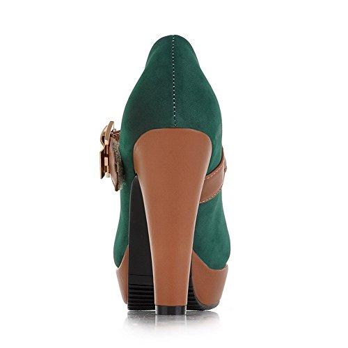 Farbe Absatz Schnalle Schuhe Blend Pumps Materialien Gemischte Damen Grün AllhqFashion Hoher wqTUSCU