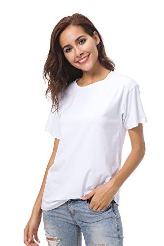 Womens Basic Plain Short Sleeves T Shirts Summer Tee Crew Neck Loose Tops Blouse