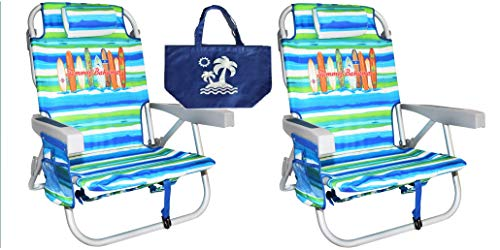 - 2 Tommy Bahama Backpack Beach Chairs/ Green