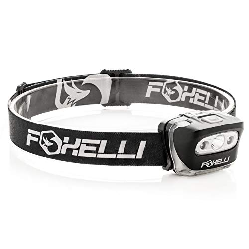 Foxelli Headlamp Flashlight - 165 Lumen, 3 x AAA Batteries Operated, Bright White Cree Led + Red Light, Perfect for Runners, Lightweight, Waterproof, Adjustable Headband, 3 AAA Batteries - Blend Flash
