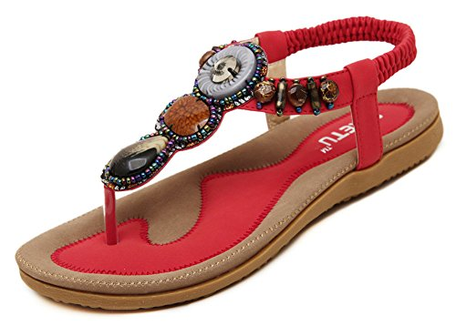 Fortuning's JDS 2016 New arrival women's bohemia Flip-flop shoes flat sandals Red Zi4ypru