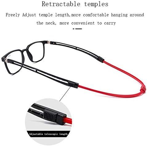 磁石で着脱首かけ 老眼鏡、TR素材のスクエアメガネホルダー、引き込み式テンプル、180°スプリングヒンジ、すべての顔タイプに適しています、1.0 / 1.5 / 2.0 / 2.5 / 3.0