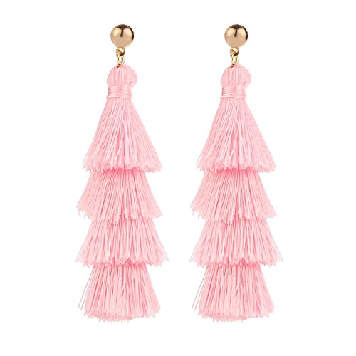 BaubleStar Fashion Gold Tassel Dangle Earrings Layered Long Bonita Tiered Pink Thread Tassel Drop Statement Jewelry for Women Girls