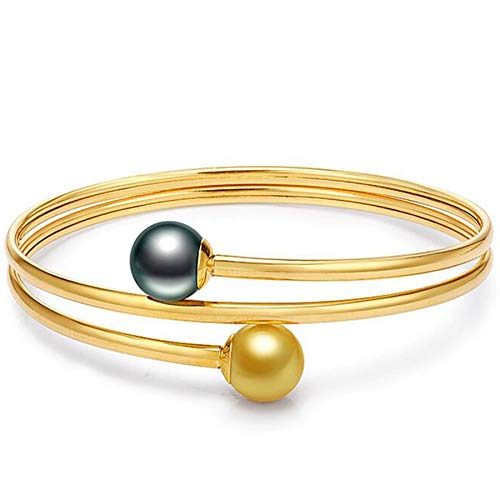 Fashion Jewelry@ Solid 18K Yellow Gold Pearl Bangle for Women, Real Gold 9-10mm Golden South Sea Pearl/Black Tahitian Pearl Bracelets - AAAA Quality