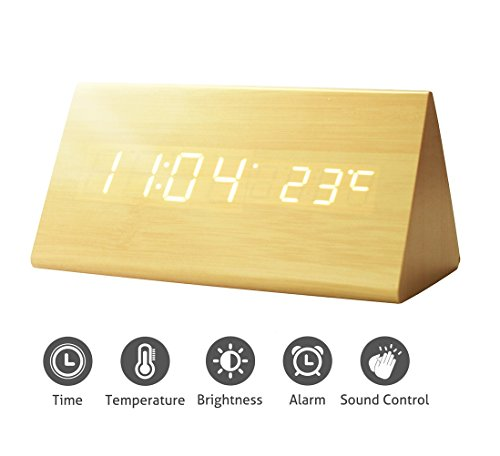 Triangular Display - Greenic Wooden Digital Alarm Clock, USB Powered/Battery Operated, Time Date Temperature Display, 3 Alarm Sets Triangular