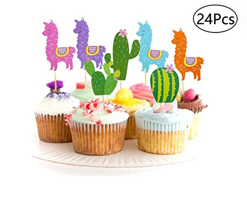 Llama and Cactus Cupcake Toppers Alpaca Cupcake Picks Llama Themed Party Supplies Baby Shower, Birthday Party Decor