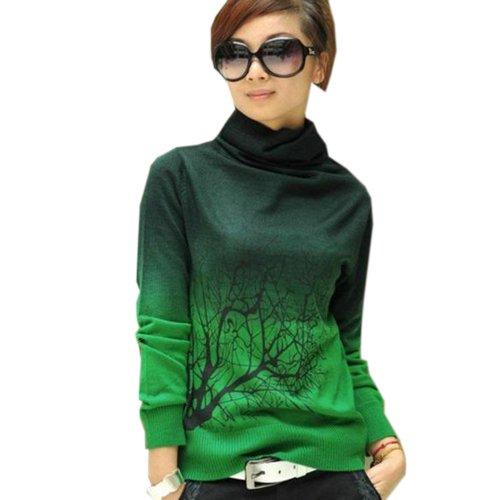 Zeagoo Women's Sweater Turtleneck Branch Print Gradient Color Design Pullover Sweater