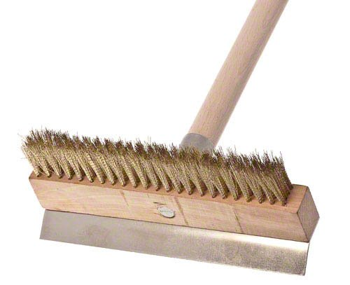 Update International 38-Inch Pizza Oven Brush 4 Pizza oven brush with wooden handle Features a brass bristle brush that will not scratch oven interior It has brush head metal scraper to remove baked-on dough residue from the grates