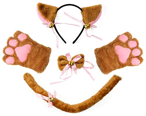 Beelittle Cat Cosplay Costume Kitten Ears Tail Collar Paws Cat Cosplay Collection 5 Pack (Brown) ()