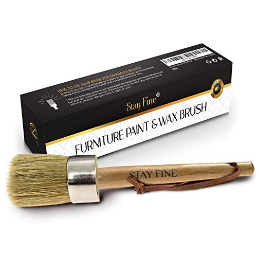 Round Paint and Wax Brush for Furniture | Premium Chalk & Wax Brush | Natural Bristles with Comfort-Grip Wood Handle | Minimal Shedding | Smooth Handle | Handcrafted by Stay Fine (1 Brush)