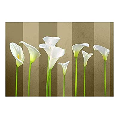 Arum Lilies with Copper and Rich Brown Striped Textured Background - Wall Mural, Removable Sticker, Home Decor - 100x144 inches