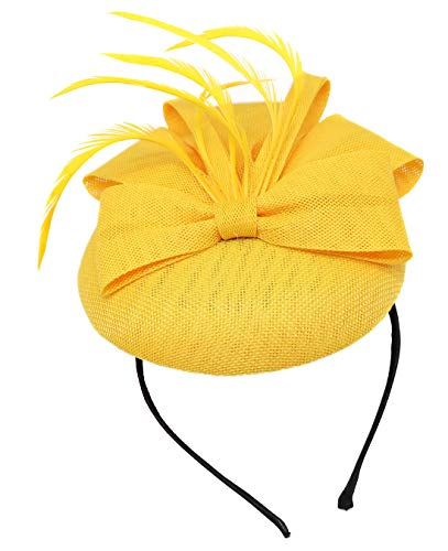 Biruil Fascinators Hat for Women Girls Sinamay Flower Feathers Tea Party Cocktail Headband Hair Clip (A Yellow) ()