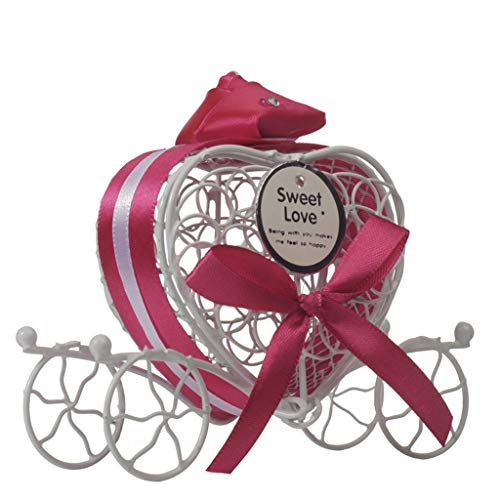 (Highpot Metal Candy Box Love Heart Milk Chocolate Truffle Candy Gift Box Party Wedding Favors Romantic Carriage Sweets Chocolate Box (Hot Pink))