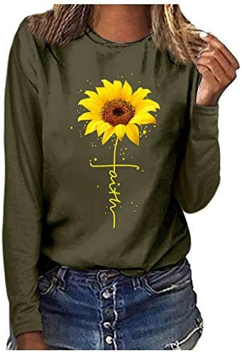 Shirts for Women Plus Size Fashion Sunflower Print Round Neck Long Sleeve Sweatshirt T-Shirt Blouse Tops