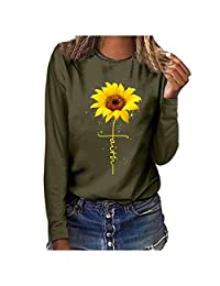 Tops for Womens, DRAGONHOO Plus Size Print Round Neck Long Sleeved T-Shirt Blouse Tops Sweatshirt Pullover Hoodie