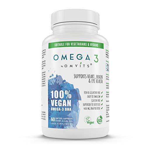 Omvits Vegan Omega 3 DHA Supplement from Algae Oil – 60 Capsules with Vitamin E – Sustainable Algal Alternative to Fish…