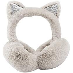 Lindo imitación de orejas de gato orejeras invierno al aire libre orejeras orejeras plegables de color beige