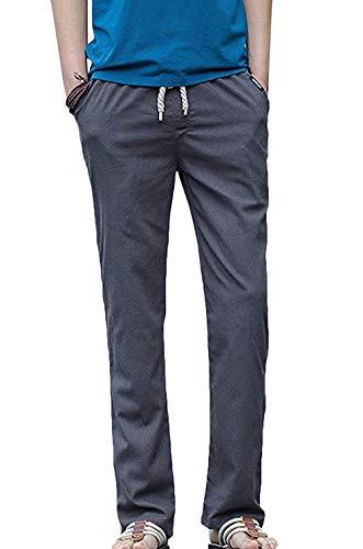 Taglie Grey Con Abiti Larghi Tempo Comode Coulisse Lunghi Aderenti Pantaloni Fashion Il In Libero Lino Per Da Hx Uomo qUC0gU