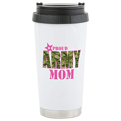 (CafePress Camo Proud Army Mom Stainless Steel Travel Mug Stainless Steel Travel Mug, Insulated 16 oz. Coffee Tumbler)