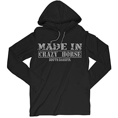 Retro Vintage Style Made in South Dakota, Crazy Horse Hometown Long Sleeve Hooded T-Shirt Crazy Horse South Dakota