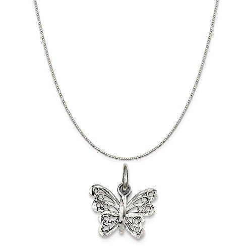 Sterling Silver Butterfly Charm on a Sterling Silver Box Chain Necklace, (Silver Small Butterfly Charm)