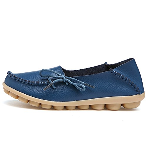 Leather Slippers Indoor Genuine Casual Shoes Flat Slip 1blue On Driving Women's Moccasin Fantiny Loafers UFBgqg