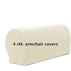 Arm Rest Covers Set, Pack of 4 Stretch Armchair Arm Covers Soft Polyester Arm Caps Non Slip Furniture Protector For…