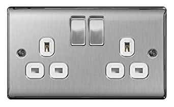 BG Nexus Metal 2 Gang 13A Switched Socket Brushed Steel (White Inserts) BG Electrical