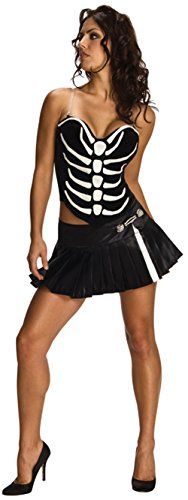 Skeleton Corset (Adult's X-Small Size 0-2 Sexy Skeleton Corset and Skirt Costume)