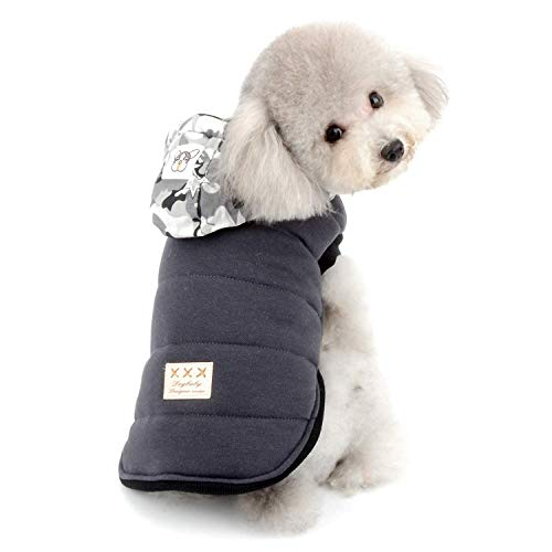 fogohill Puppy Dog&Cat Pet Fleece Lined with Camouflage Hoodie Down Jacket Cold Weather Coats Vest Hooded Thickening Padded Apparel Pet Parka Clothes Grey X-Large ()
