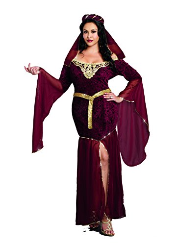 [Dreamgirl Women's Plus-Size Medieval Enchantress Royal Maiden Costume, Burgundy, 3X/4X] (Plus Size Costumes 4x)