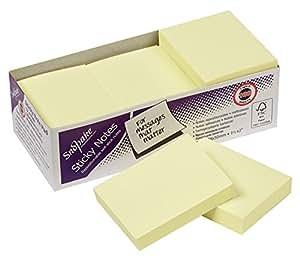 Snopake 12127 - Notas adhesivas (12 unidades, 100 notas por unidad, 51 x 38mm), color amarillo