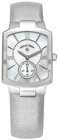 Philip Stein Classic Square Womens Stainless Steel Watch - Metallic Silver Leather Band Natural Frequency Technology Philip Stein Watch 21-CMOP-CMS