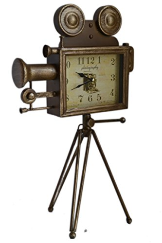 American Chateau Large 19 Bronze Antique-Style Movie Camera With Tripod Tabletop Mantel Clock