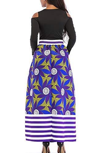 Africanas Las Coctel Dos Imprimir De Una 6blue Piezas Yacun Linea Larga Vestido Mujeres 0Edxvzvq